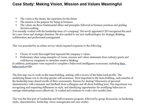 solved case study making vision mission  values