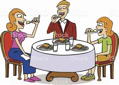 Table Eating Dinner Clipart Sitting Dining Vector