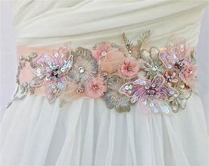 Bridal sashwedding sash in vintage pink and by for Wedding dress sashes with crystals