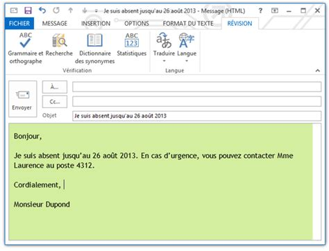exemple message absence bureau outlook programmer des réponses automatiques pour les