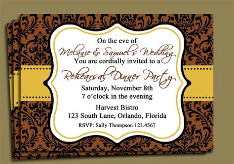 brown damask invitation printable fall party
