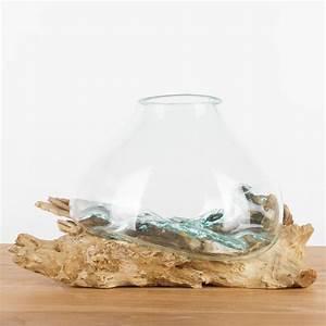 Kalkflecken Auf Glas : teak holz deko wurzel mit glas gr m 25 35 cm ~ Watch28wear.com Haus und Dekorationen