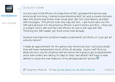 iphone sim failure iphone 4s sim card failure a new apple flaw techshout