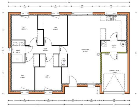 plan villa plain pied 4 chambres programmes de maisons à contruire en loire atlantique