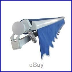 aleko motorized retractable patio awning    ft blue color patio awnings canopies  tents