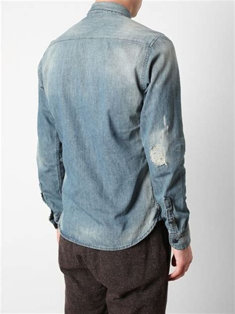 edun distressed denim shirt  blue  men denim lyst