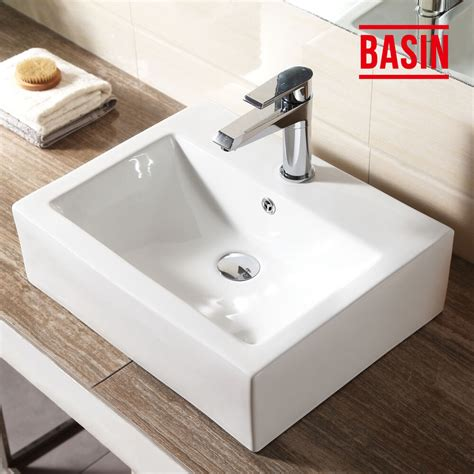 Rectangle Sinks Bathrooms by White Rectangle Countertop Basin Sink Unit Wall Ceramic