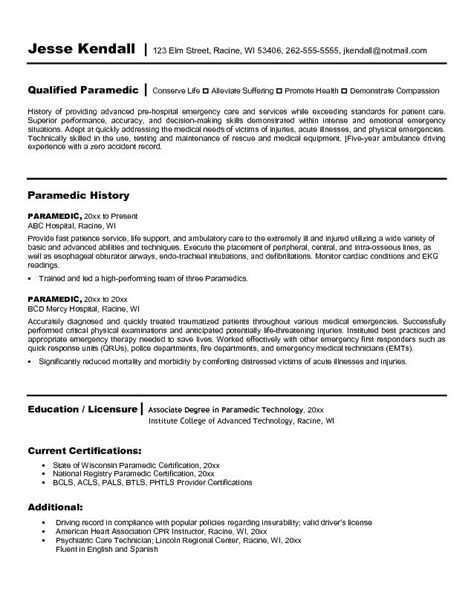 Resume Cover Letter For Paramedics by Exle Paramedic Resume Free Sle