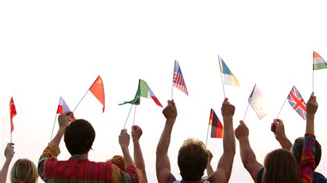 people   nationalities holding  flags
