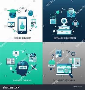 Online Education Design Concept Set With Mobile Courses ...