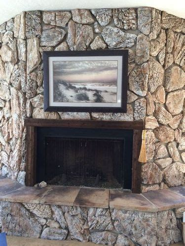 lava rock fireplace painting a lava rock wall mantle hometalk