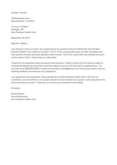 Nurse Practitioner Resignation Letter   Templates at allbusinesstemplates.com