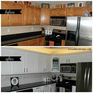 our diy kitchen remodel painting your cabinets white With best brand of paint for kitchen cabinets with lighter stickers