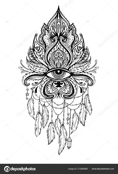 Lotus Eye Sacred Geometry Ayurveda Symbol Harmony Balance Universe Tattoo — Stock Vector