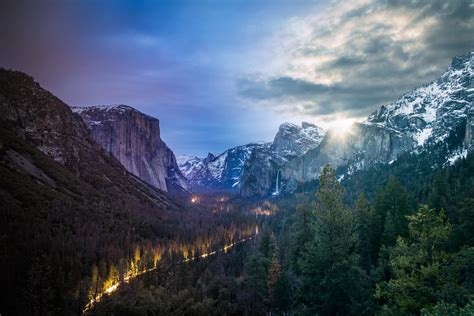 Yosemite Tunnel View Day Night Time Blend