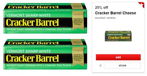 cracker barrel cheese printable coupons target deal