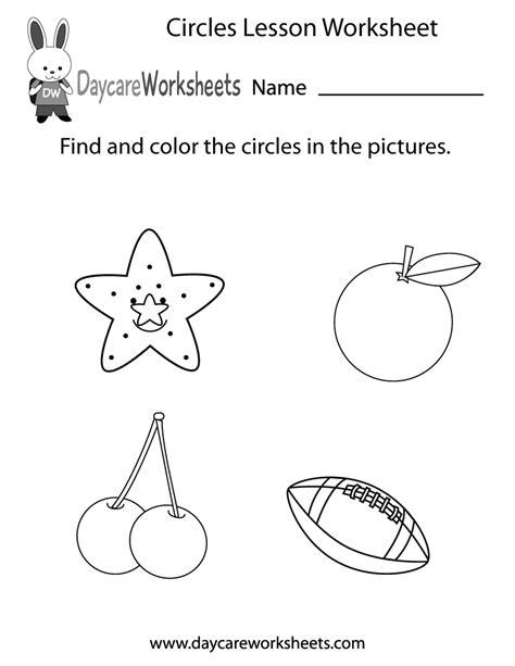 circles lesson worksheet  preschool