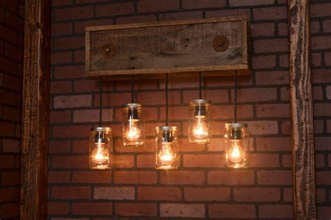Mason Jar Wall Sconce With Reclaimed Wood Pendants • Id Lights