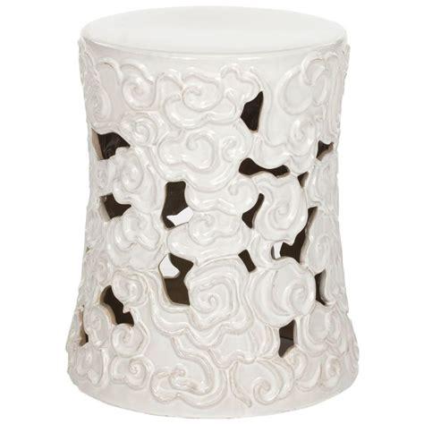 White Cloudy Stool - safavieh cloud white garden patio stool acs4519a the
