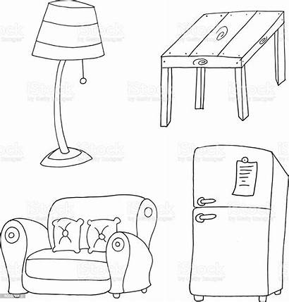 Furniture Drawing Colouring Sketch Coloring Lamp Electric