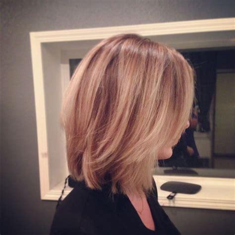 long angled bob aveda color blondecut shades