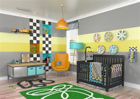 Gray 10pc Race Car Baby Nursery Bedding Set Boy Discount