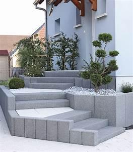 18 solutions pour creer un escalier exterieur With amenager jardin en pente 7 creer une jolie terrasse avec des paves en pierre
