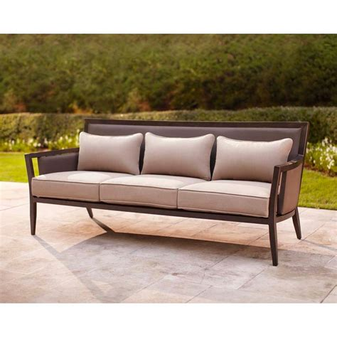 brown greystone patio sofa with sparrow cushions