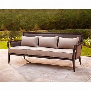 brown jordan greystone patio sofa with sparrow cushions With outdoor sectional sofa home depot