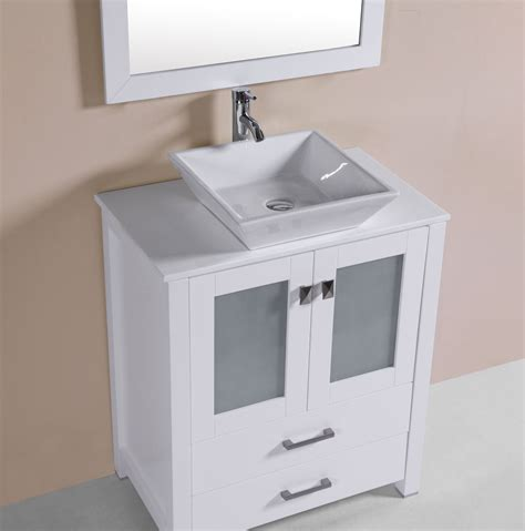 Overmount Bathroom Sink Vanity by 30 Quot Newport White Single Modern Bathroom Vanity With