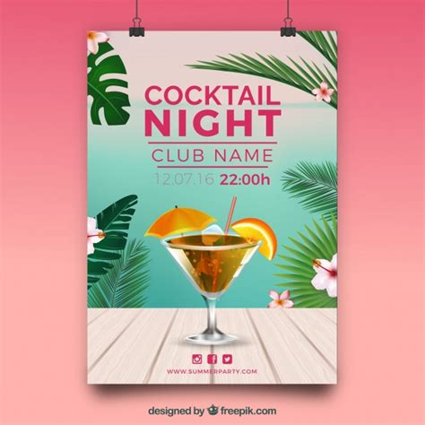 Tropical Poster Template by Tropical Cocktail Party Poster Vector Free Download