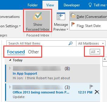 Office 365 Outlook Focused Inbox by Focused Inbox In Outlook Desktop