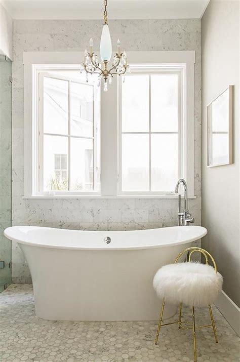 Crystal Chandelier Over Tub   Contemporary   bathroom