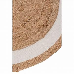 tapis rond en jute detail bande en coton blanc 120cm With tapis rond en jute