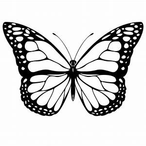 Nice Monarch Butterfly Black And White Tattoo Stencil ...