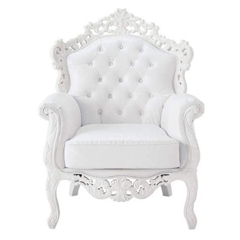 fauteuil capitonn 233 imitation cuir blanc barocco maisons