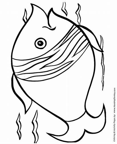 Coloring Fish Pages Easy Simple Shapes Printable