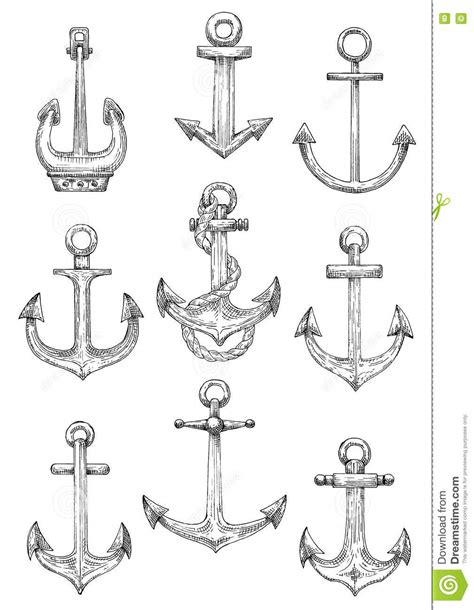 Nautical Anchors With Rope For Marine Theme Design Stock Vector - Illustration of nautical, sail