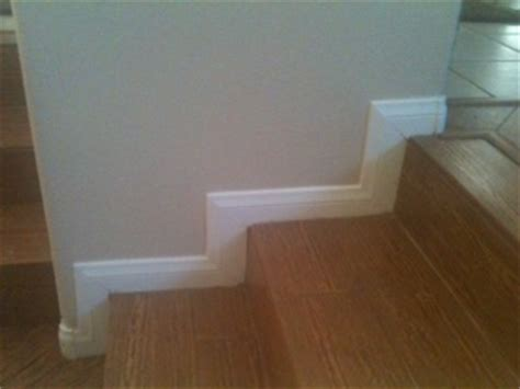 installing baseboard  stairs