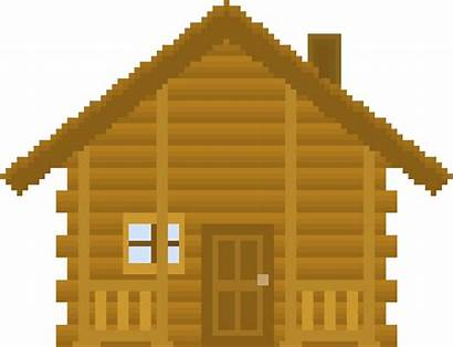 Pixel Cabin Clipart Hut Cottage Log Transparent