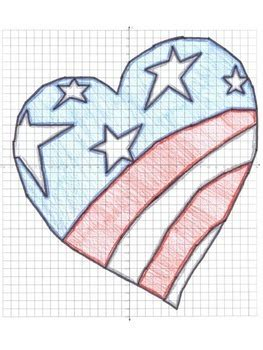 american flag heart coordinate graphing ordered pairs