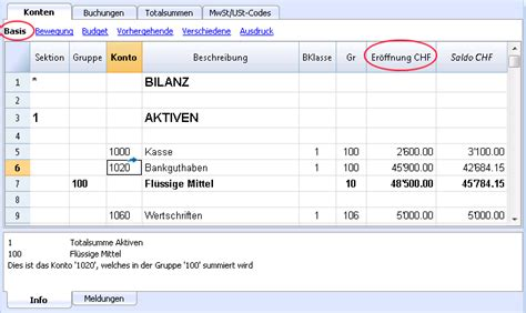 kontenplan banana accounting software