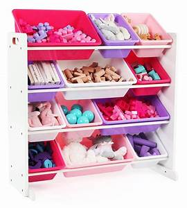 Tot, Tutors, Kids, Toy, Storage, Organizer, With, 12, Plastic, Bins, White, Pink, U0026, Purple, Friends, Collection