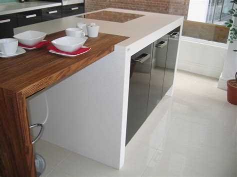 glacier white corian wood breakfast bar counter