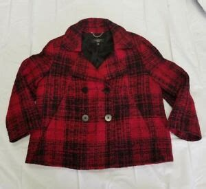 talbots blazer double breasted womens red black wool blend