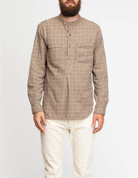 half placket shirt engineered garments banded collar shirt in for
