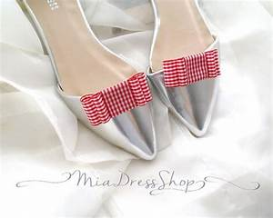 Red Plaid Checks Cute Bow Dots Shoe Clips,Wedding Bridal ...