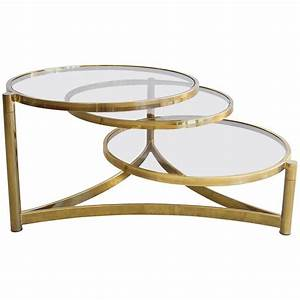 milo baughman tri level brass and glass swivel coffee With swivel coffee table