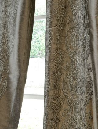 Bellagio Linen Drapes - bellagio silver embroidered silk curtains chez moi