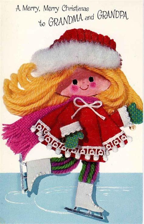 modern yarn doll vintage christmas cards vintage